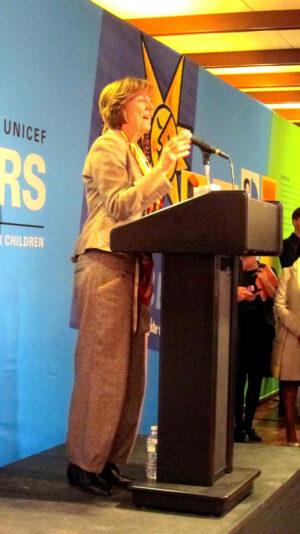 Kirsten Sandberg at CRC podium