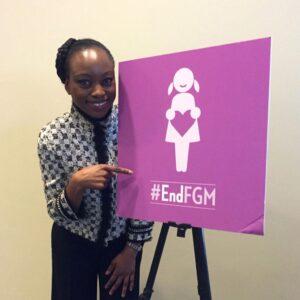 Femi Oke with #EndFGM Logo
